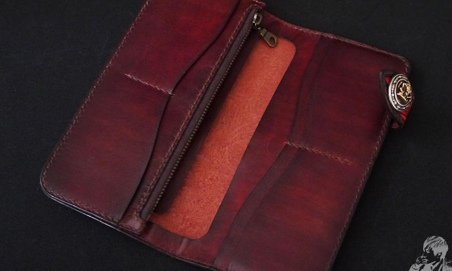 皮革長夾手縫內層